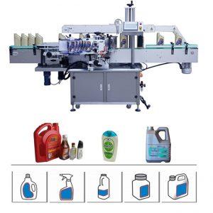 Double machine à étiquettes latérale automatique de bouteille pour le tambour de détergent / shampooing de l'huile 5-25L